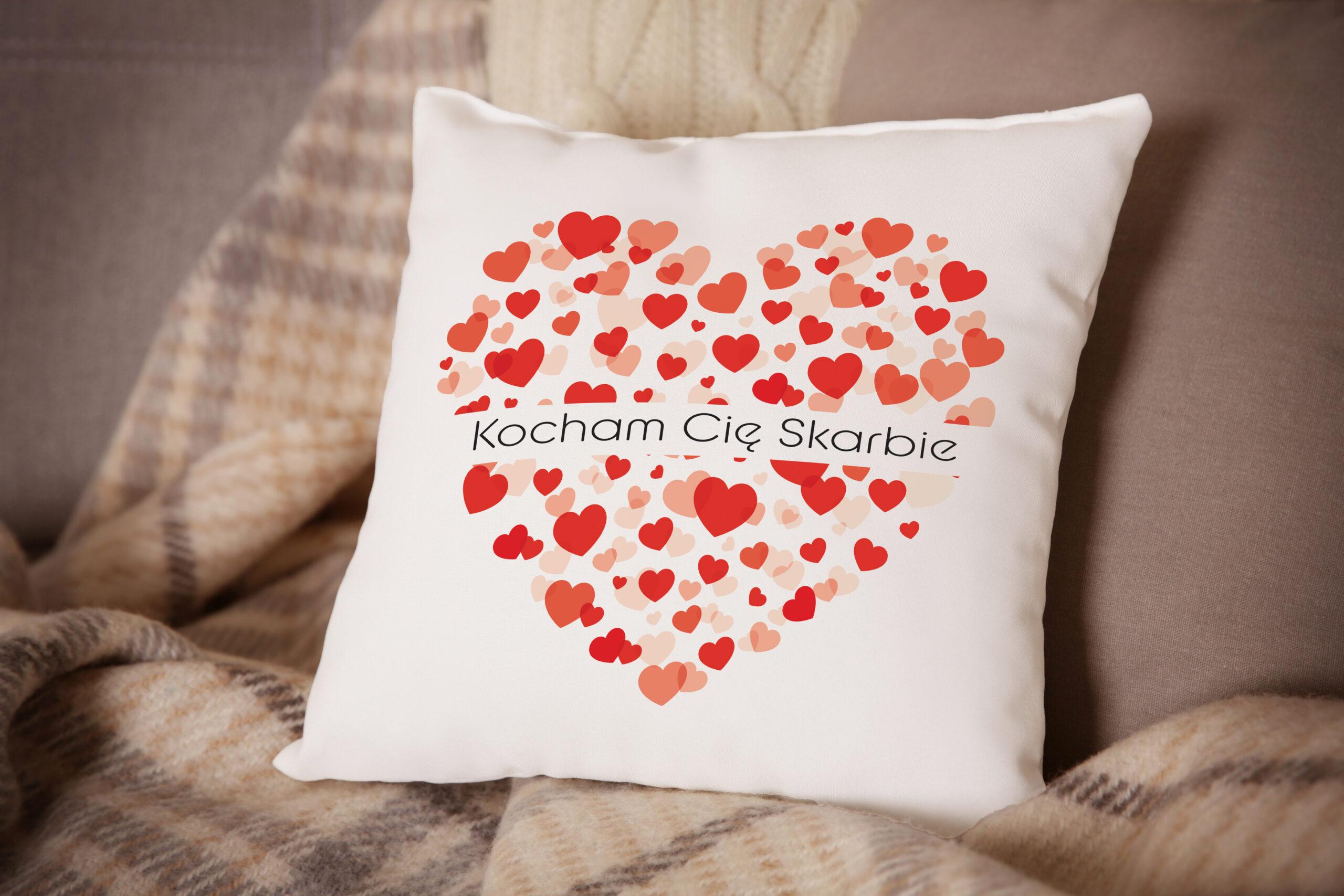 Poduszka Prezent na Walentynki - Kocham Cię Skarbie